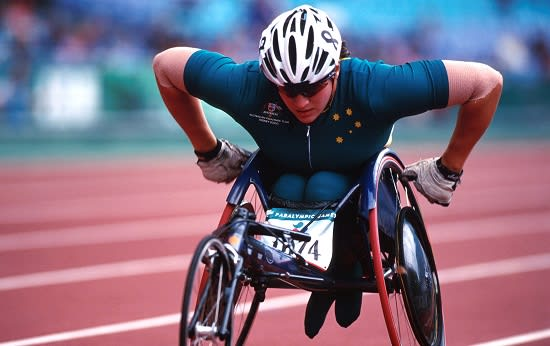 Image is of Australian Paralympian Louise Sauvage competing.