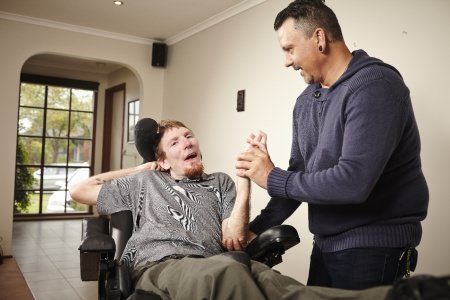 Support worker and man