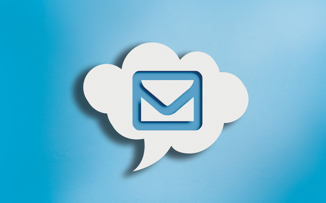Envelope symbol in speech bubble cloud