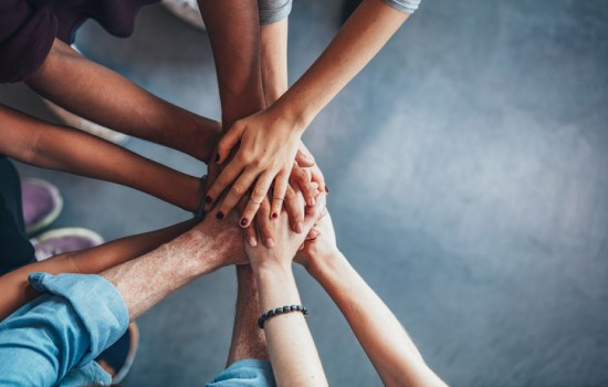 Group of hands in together