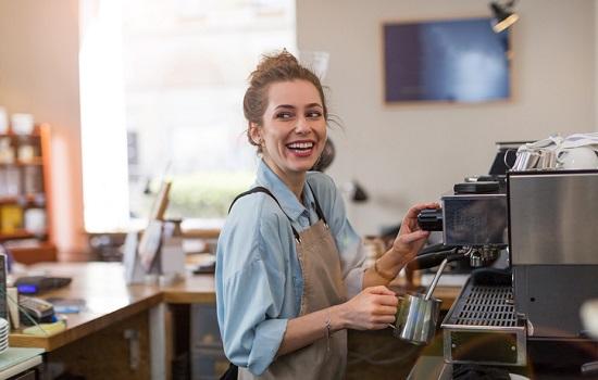 Woman making coffee