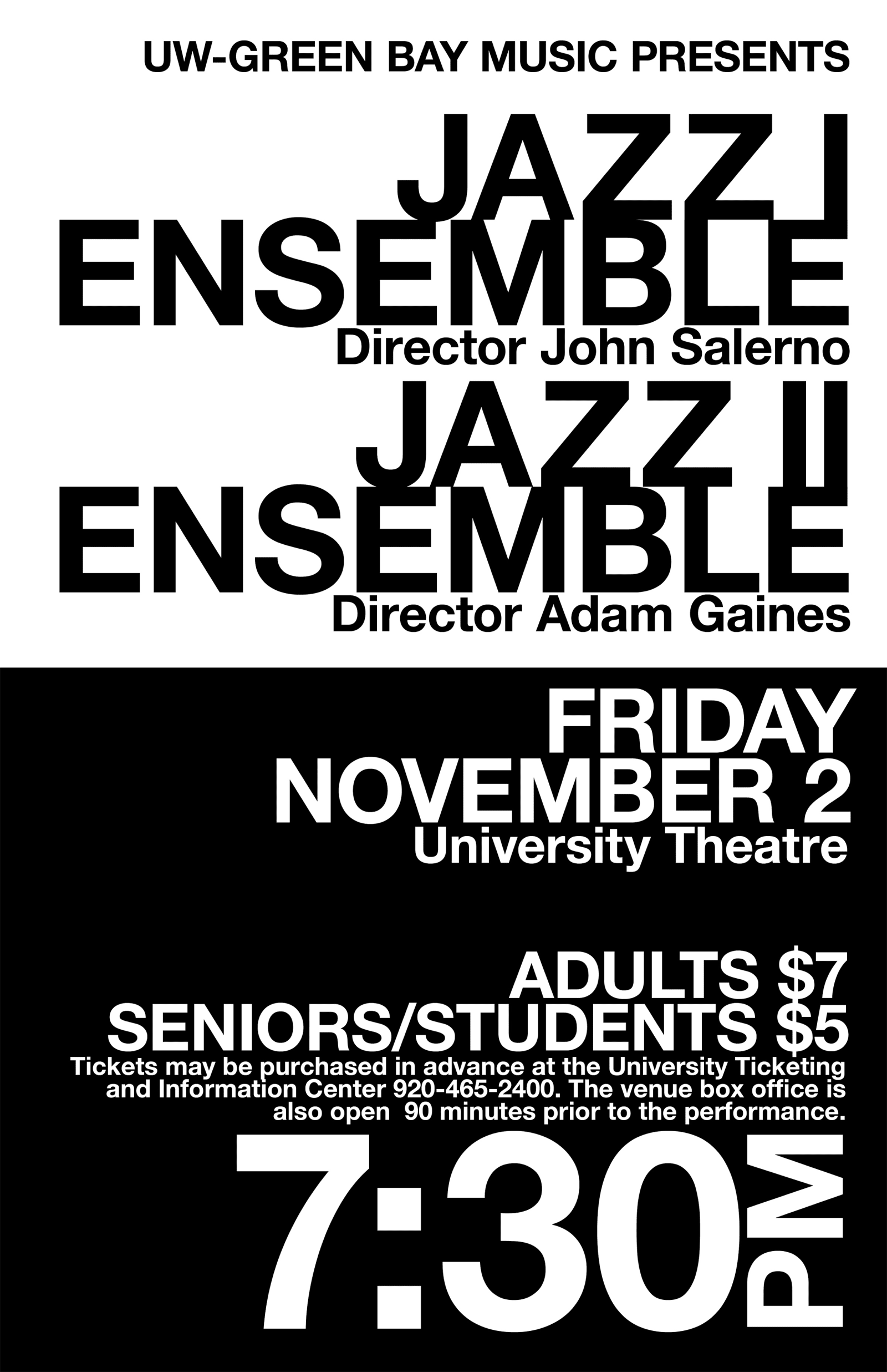 Jazz I and II Ensemble Typography Poster