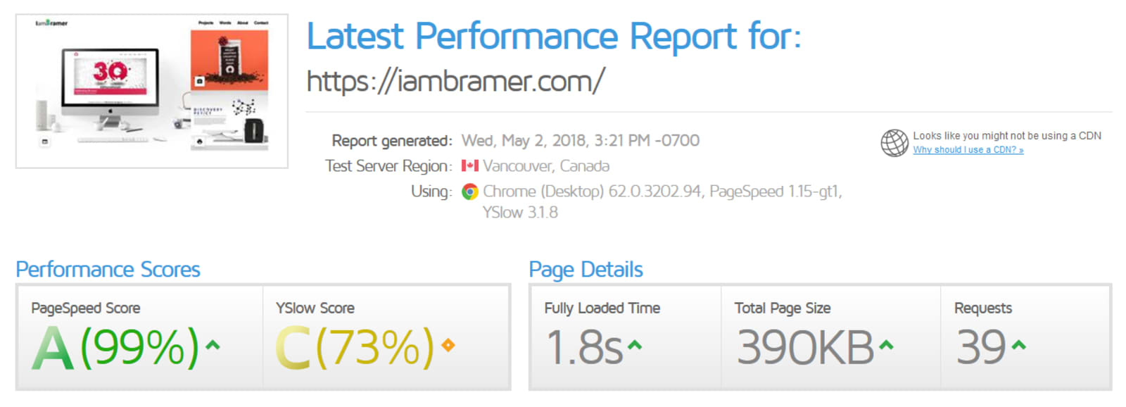 IamBramer Website GTMetrix Report