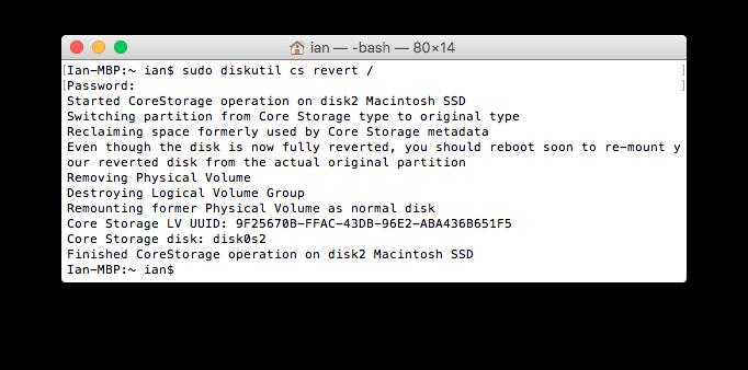 Disable Core Storage