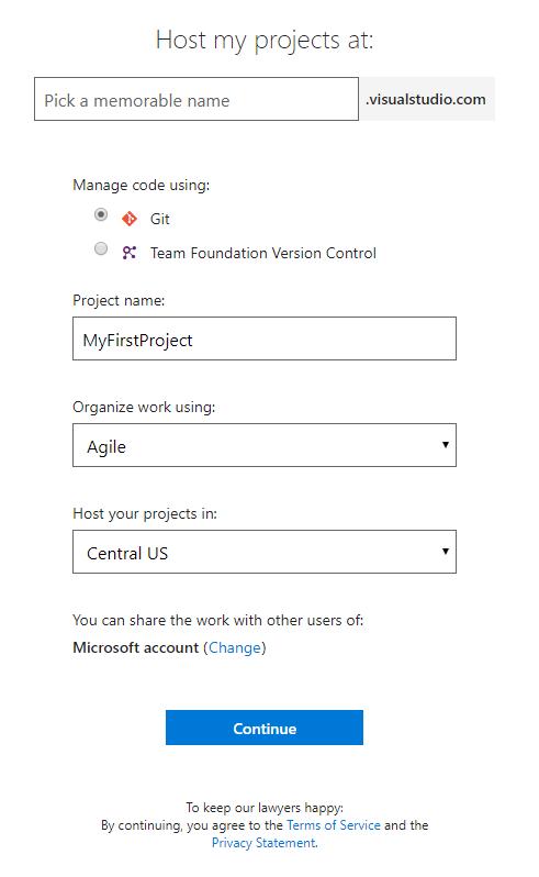 Create Visual Studio Team Services Accounts
