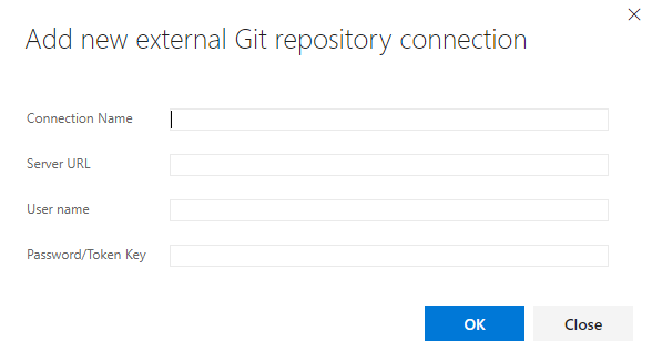 Add new external Git repository connection