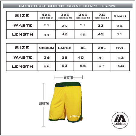 Boomers shorts sizing chart