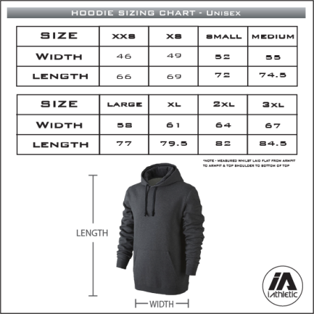 Adelaide Lightning Navy Hoodie - sizing chart