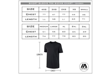 Aus Champs - PRIDE cotton tee - sizing chart