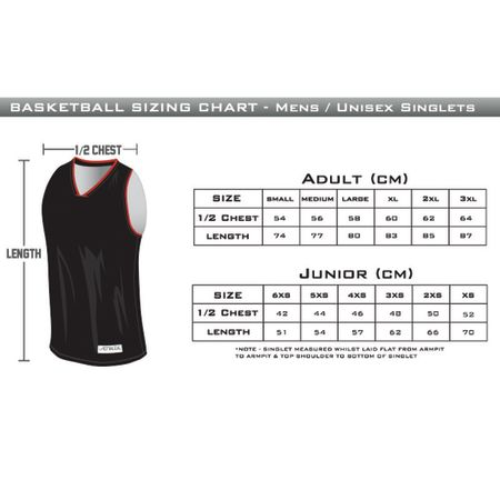 Hawthorn Titans - Reversible Playing Singlet Sizing Chart