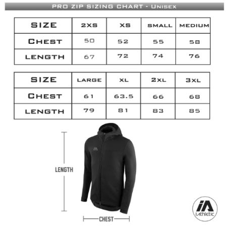 Richmond Riots - Pro tech full zip hoodie sizing chart