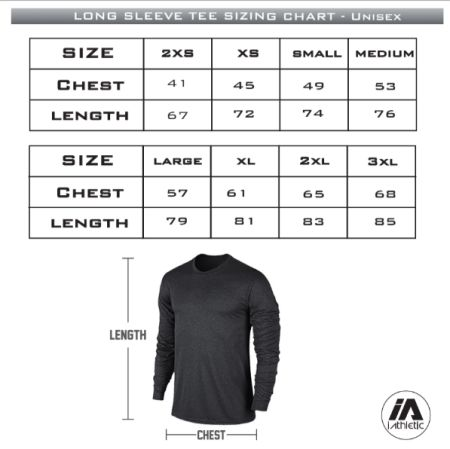Bendigo Spirit performance ls - sizing chart