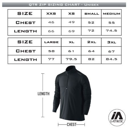 Adelaide Lightning Qtr Zip Navy Jumper - sizing chart