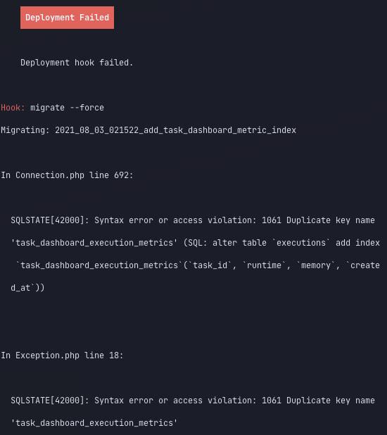 Failed database migration on deploy