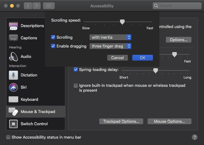 Trackpad options