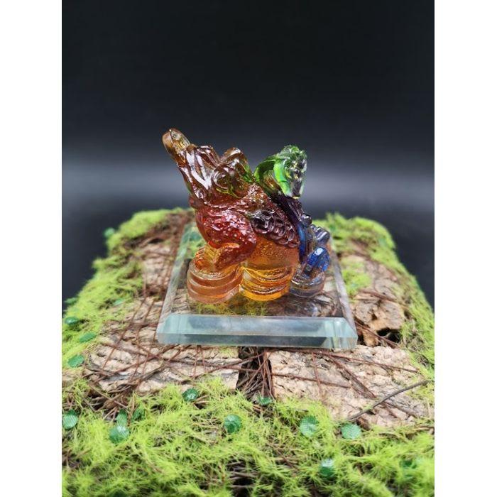 4厘米七彩琉璃蟾蜍 4cm Rainbow Glass Toad(包玻璃底座)
