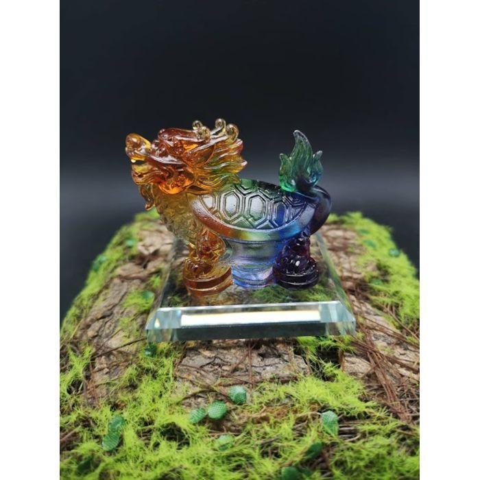 4厘米七彩琉璃龙龟 4cm Rainbow Glass LongGui (包玻璃底座)