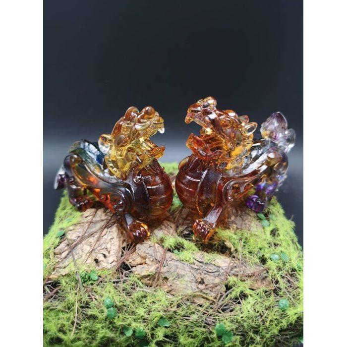 3寸七彩琉璃貔貅 3Inch Rainbow Glass PiXiu