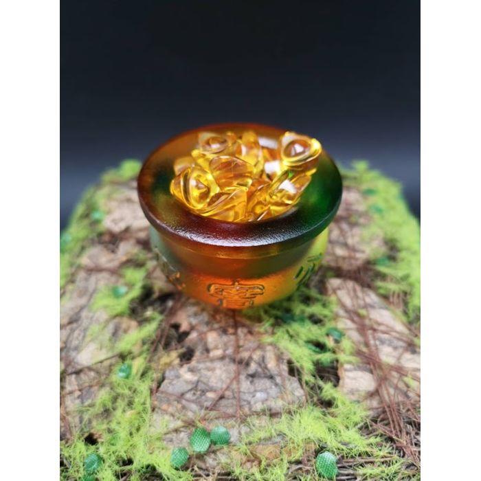 迷你七彩琉璃聚宝盆+26颗1.4厘米元宝 Mini Rainbow Glass JuBaoPen+26pcs 1.4cm YuanBao