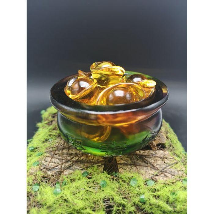 七彩琉璃聚宝盆+10颗3.5厘米元宝 Rainbow Glass JuBaoPen+10pcs 3.5cm YuanBao