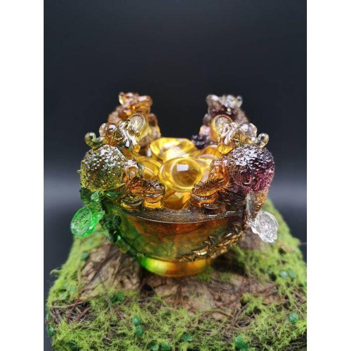 七彩琉璃四方来财聚宝盆+3颗3.5厘米元宝&5颗2.5厘米元宝 Yellow Glass SiFangLaiCai JuBaoPen+3pcs 3.5cm YuanBao&5pcs 2.5cm YuanBao