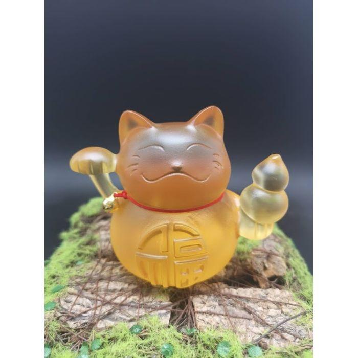 """黄琉璃福字招财猫 Golden Glass Word """"Fu"""" Fortune Cat"""