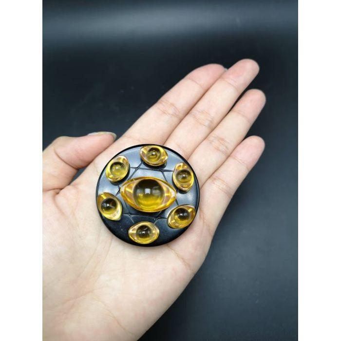 5厘米黑曜石底盘琉璃元宝七星阵 5cm Obsidian Base Glass YuanBao Seven Array