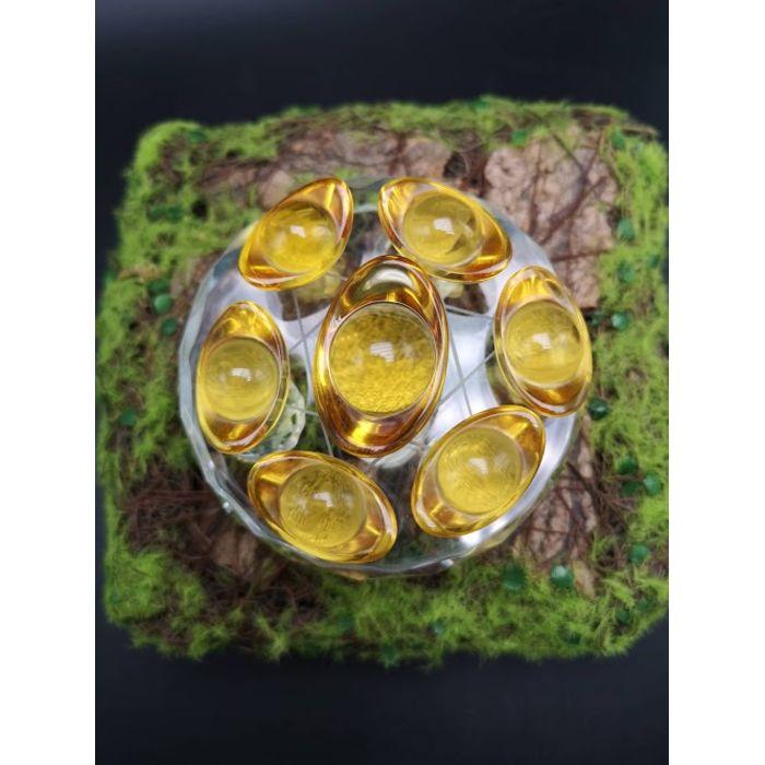 8厘米玻璃底盘黄金元宝七星阵 8cm Glass Base YuanBao Seven Array