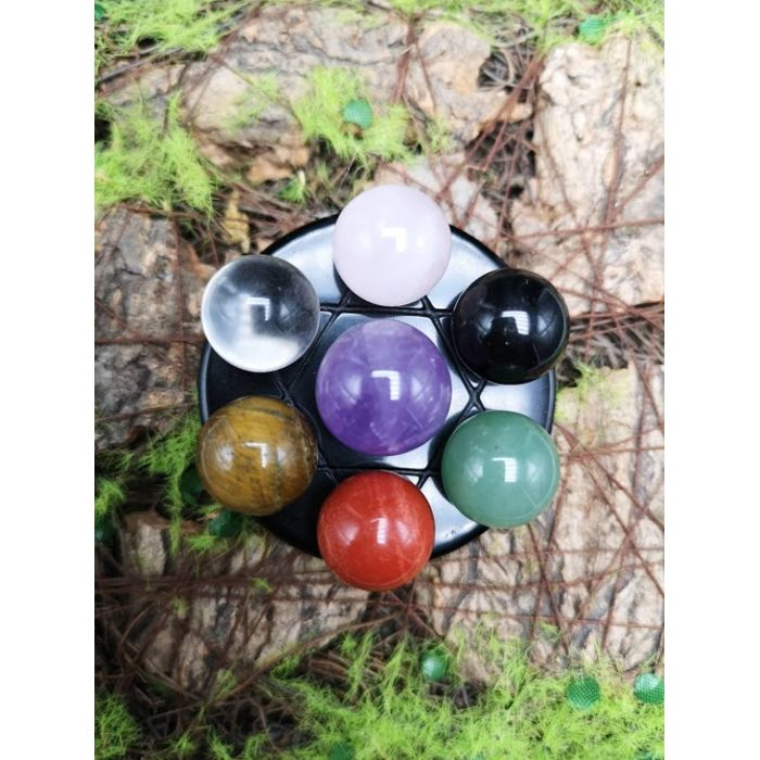8厘米玻璃底盘水晶球七星阵 8cm Glass Base Crystal Seven Array