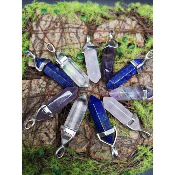 特制925纯银框六角水晶吊坠 925 Silver Hexagon Crystal Pendant
