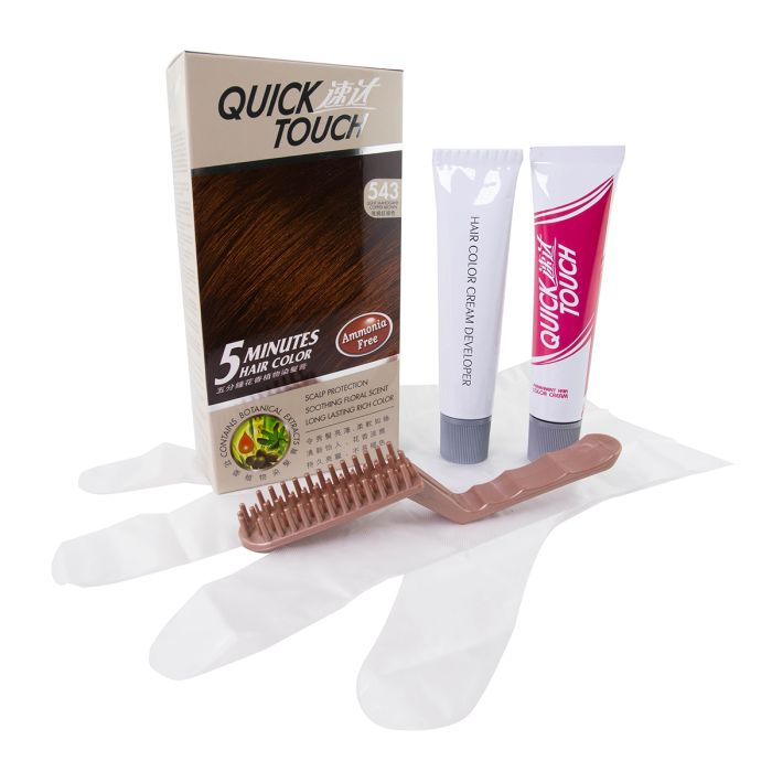 QUICK TOUCH 5 MINS HAIR COLOR - 543 Light Mahogany Copper  Brown. 速达5分钟花香植物染发霜- 543 红棕色