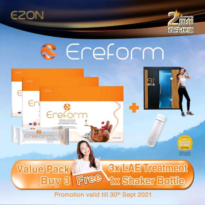 EREFORM package Buy 3 Free 1 + FREE 3 Time LAE Treatment + FREE 1 Shaker Bottle