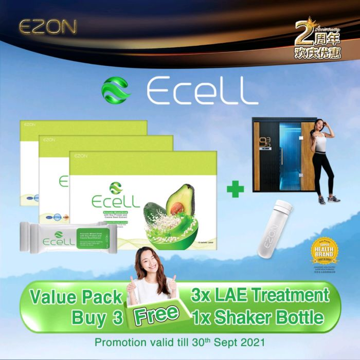 ECELL package Buy 3 Free 1 + FREE 3 Time LAE Treatment + FREE 1 Shaker Bottle