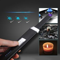 USB Rechargeable Arc Lighter With Safety Lock And Power Indicator