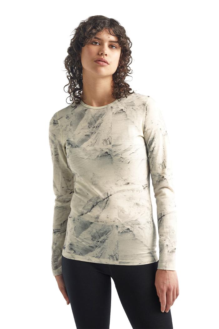 icebreaker's 女款 美丽诺羊毛天然印染200 Oasis长袖圆领保暖上衣(IB Glacier)