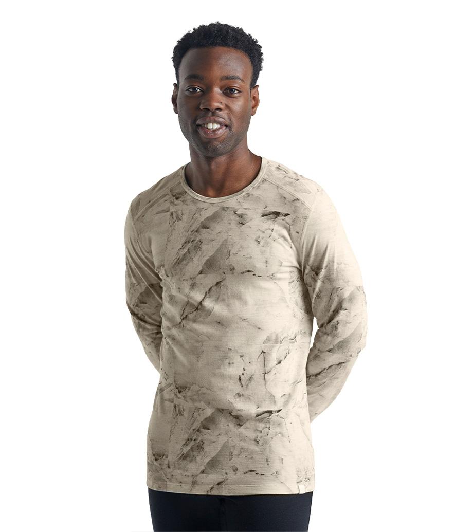 icebreaker's 男款 美丽诺羊毛天然印染200 Oasis长袖圆领保暖上衣(IB Glacier)