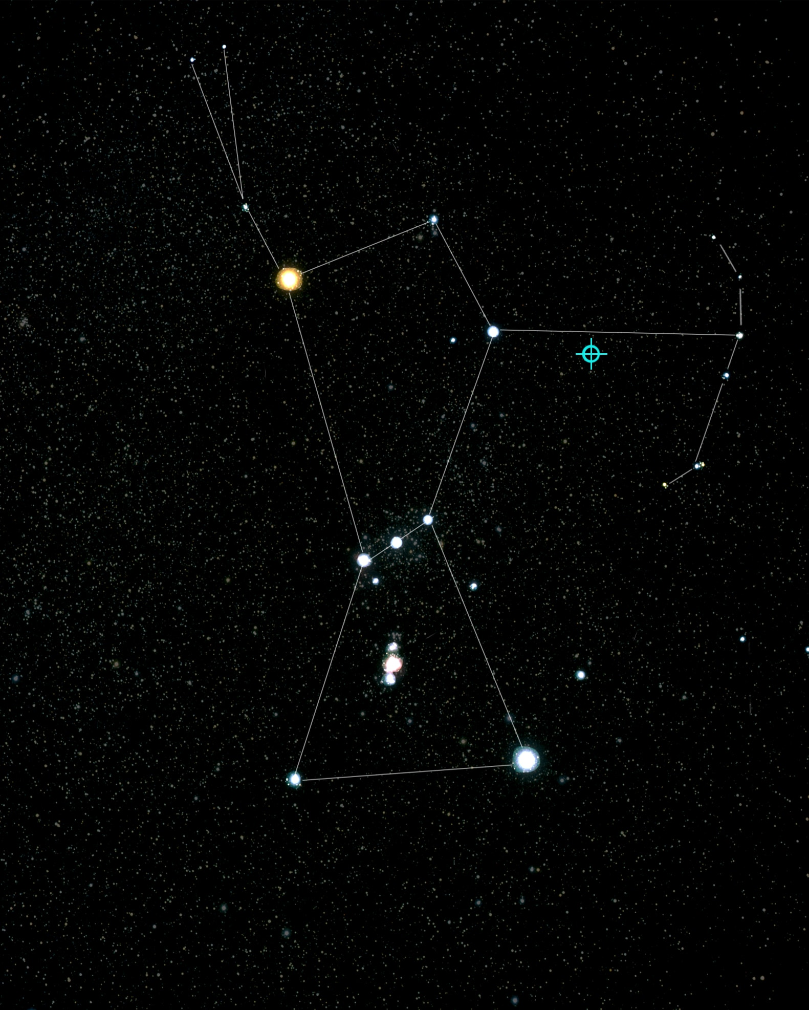 Blazar TXS 0506+056 and Orion in the sky