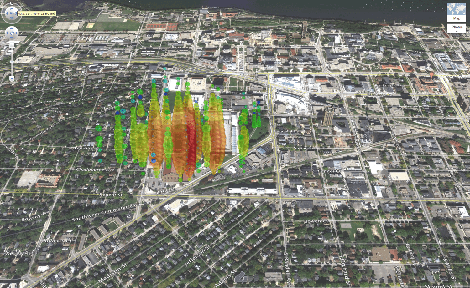 A high-energy neutrino over Madison, Wisconsin