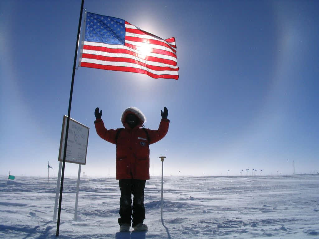Photo op at ceremonial South Pole