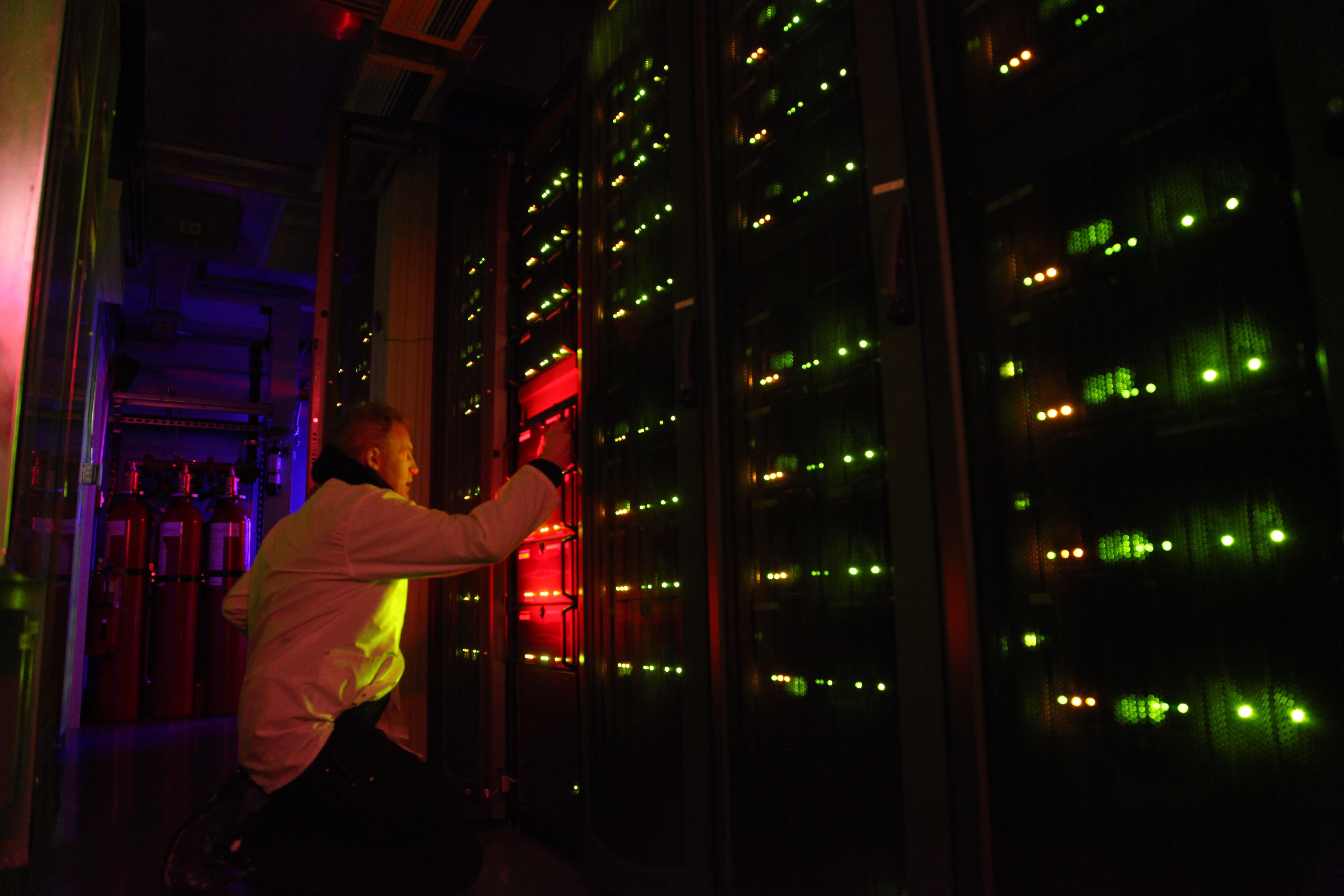IceCube Lab servers in the dark