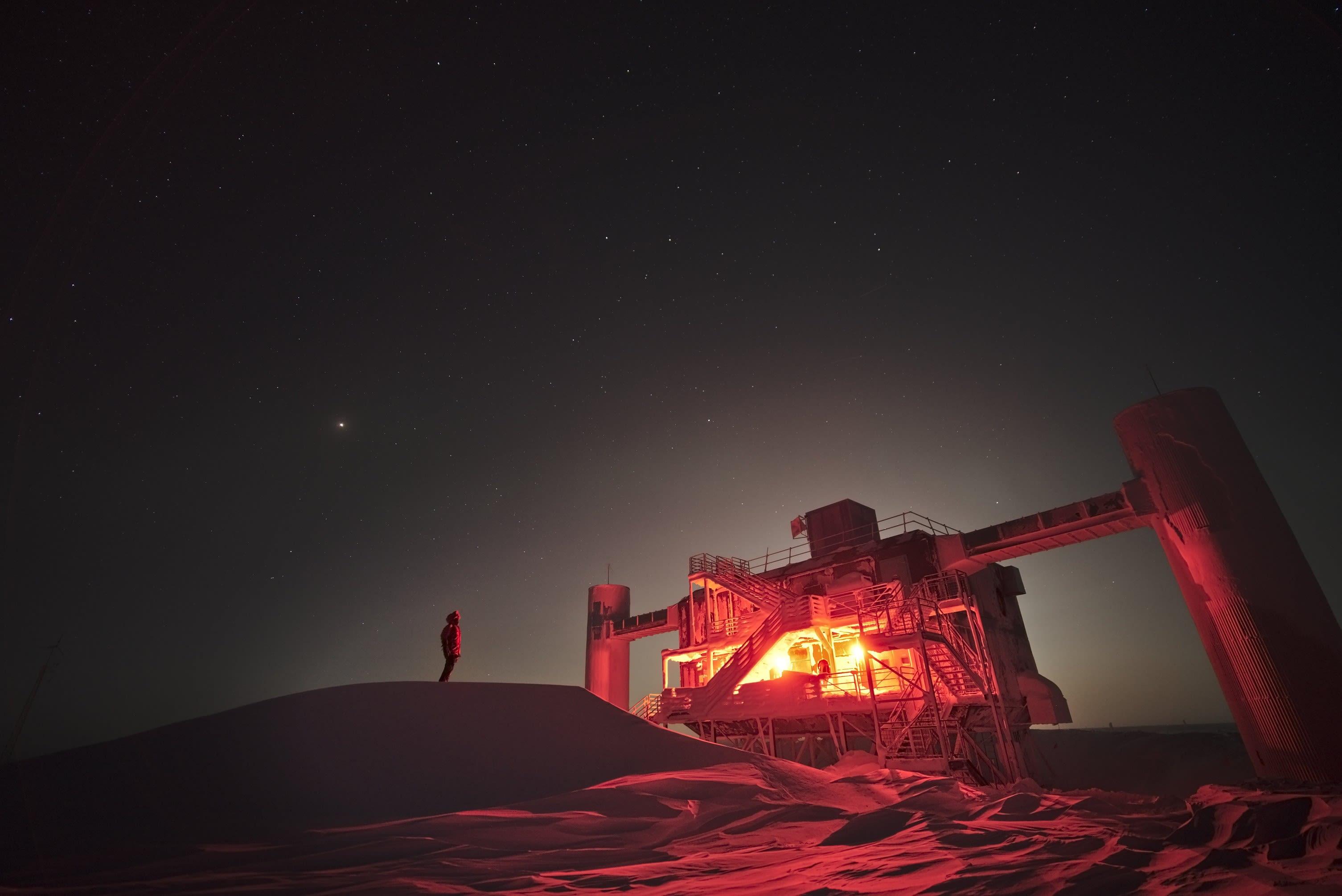 Moonlight behind the IceCube Lab