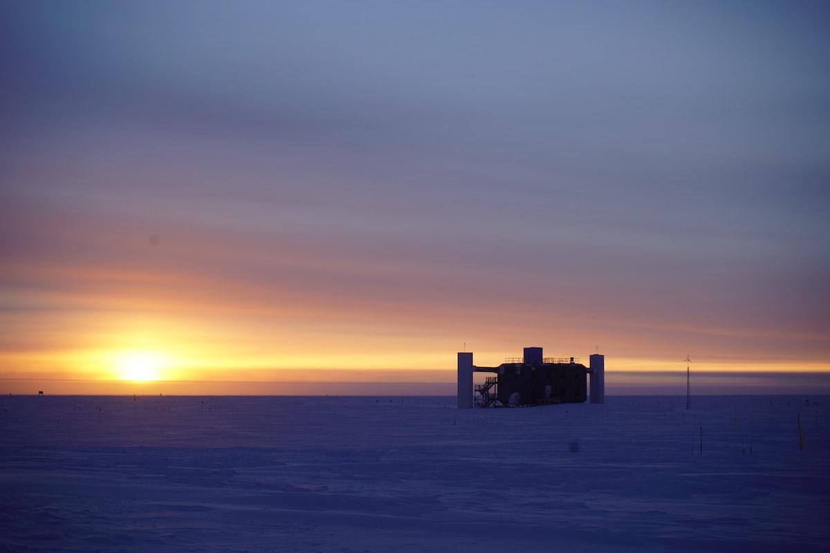 Sunset behind the IceCube Lab