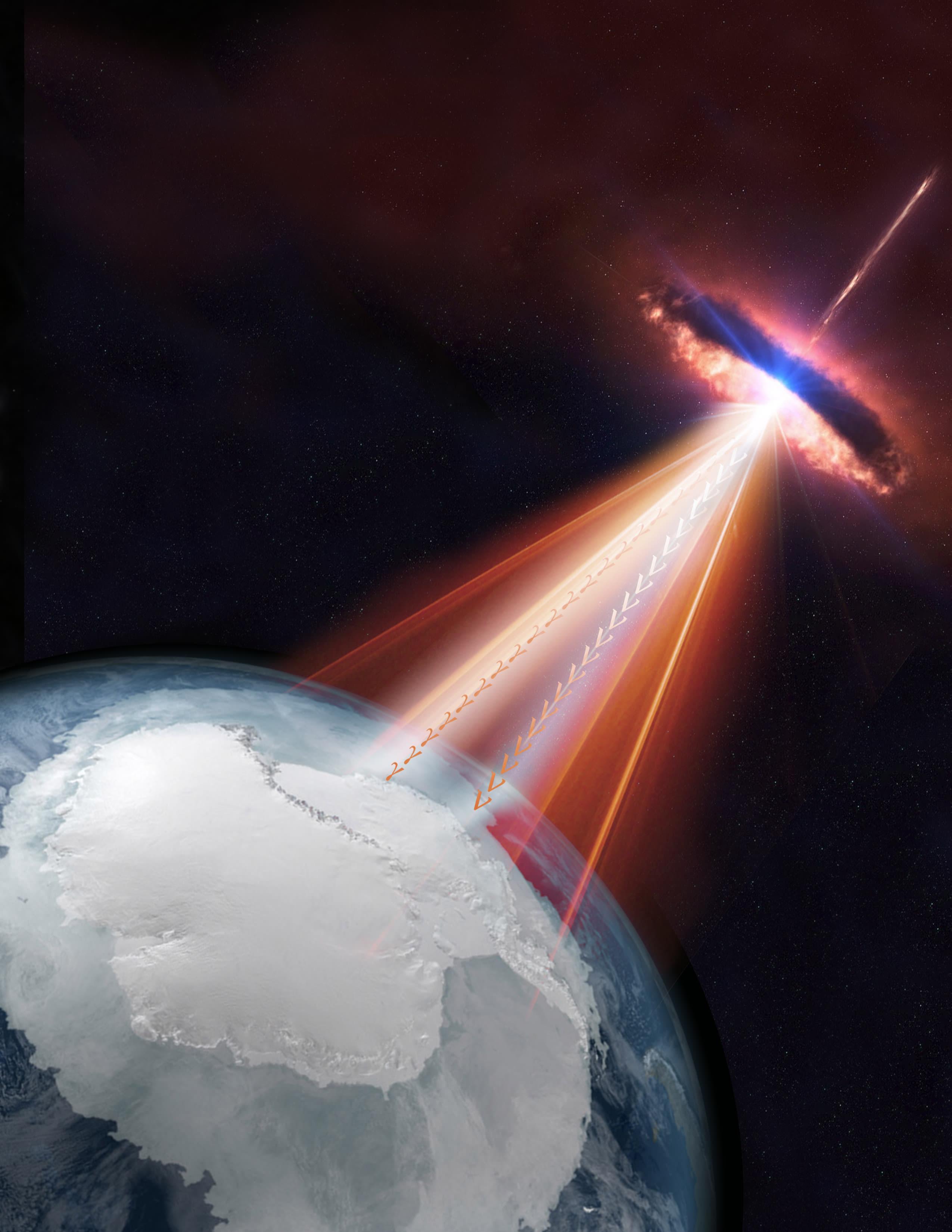 Blazar shoots neutrinos and gamma rays to Earth