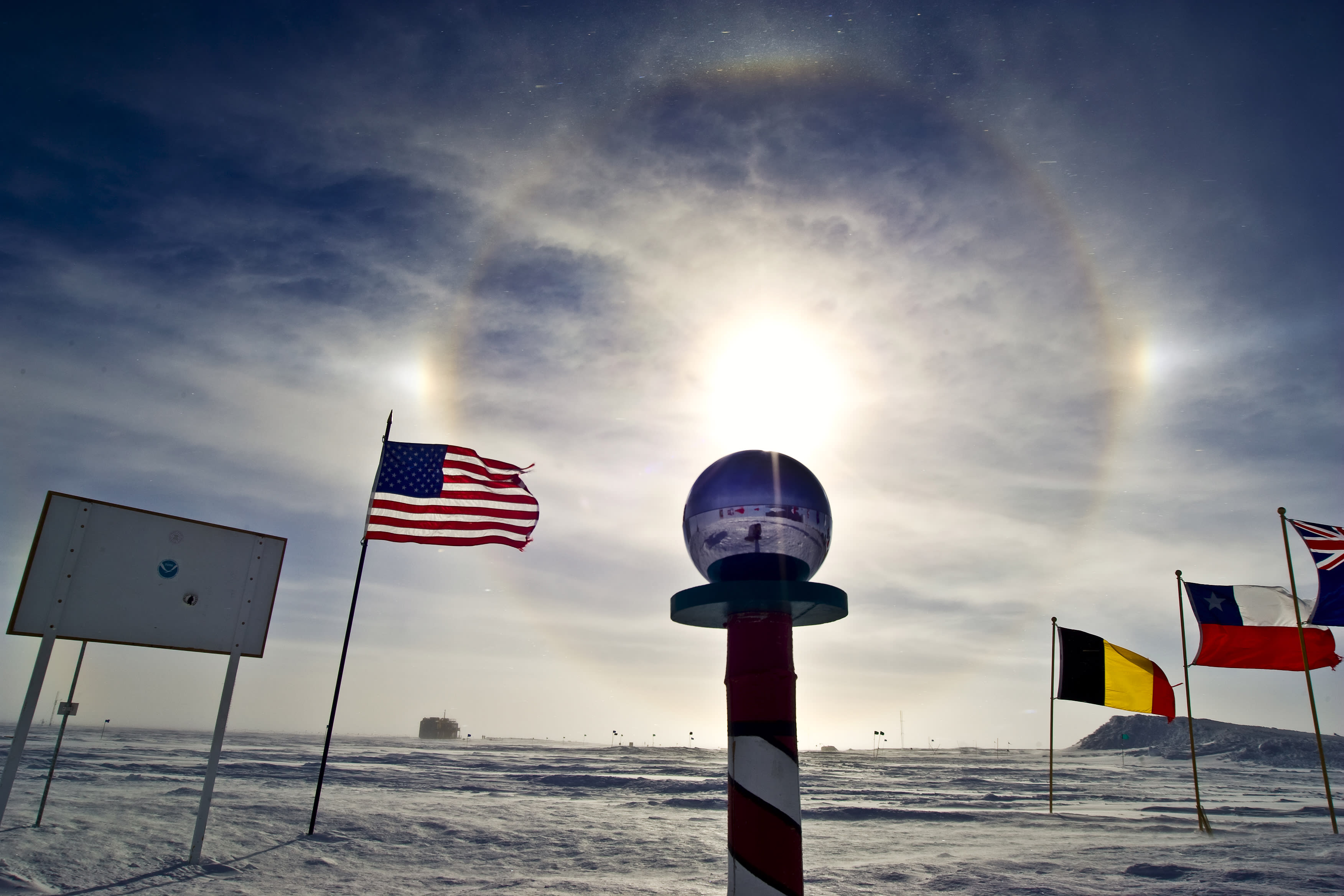 Sun dog around South Pole marker