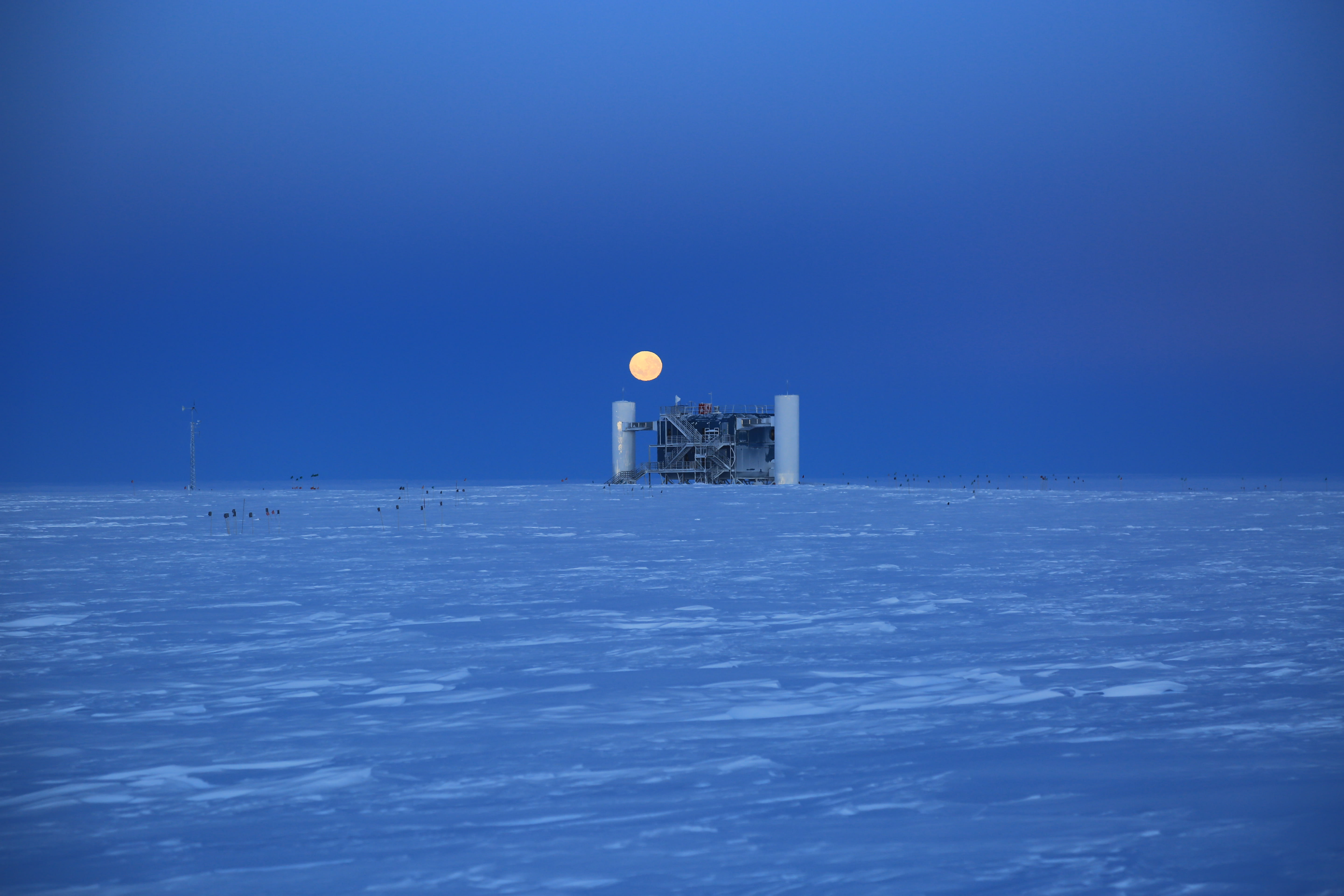 IceCube Lab with moon, April 2016