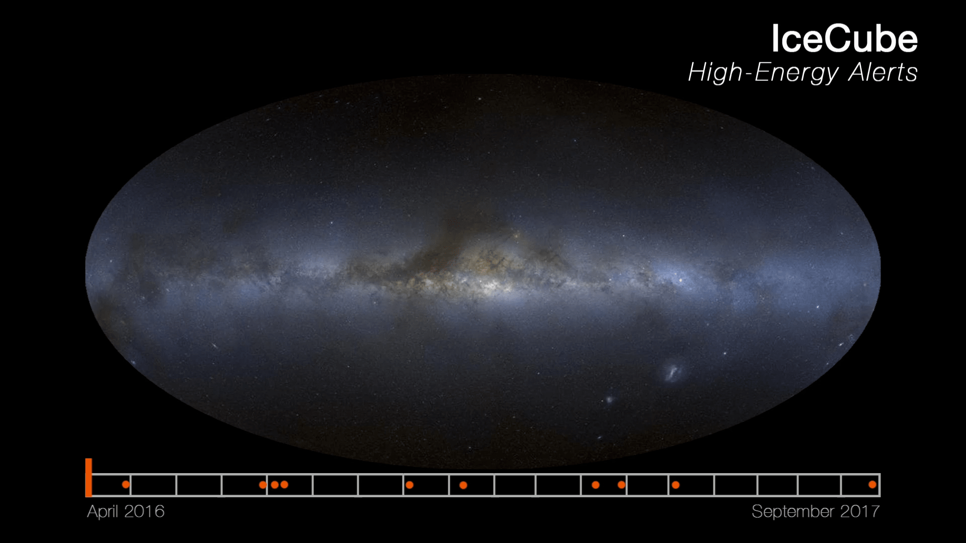 Animation: High-energy neutrino alerts and neutrino flare