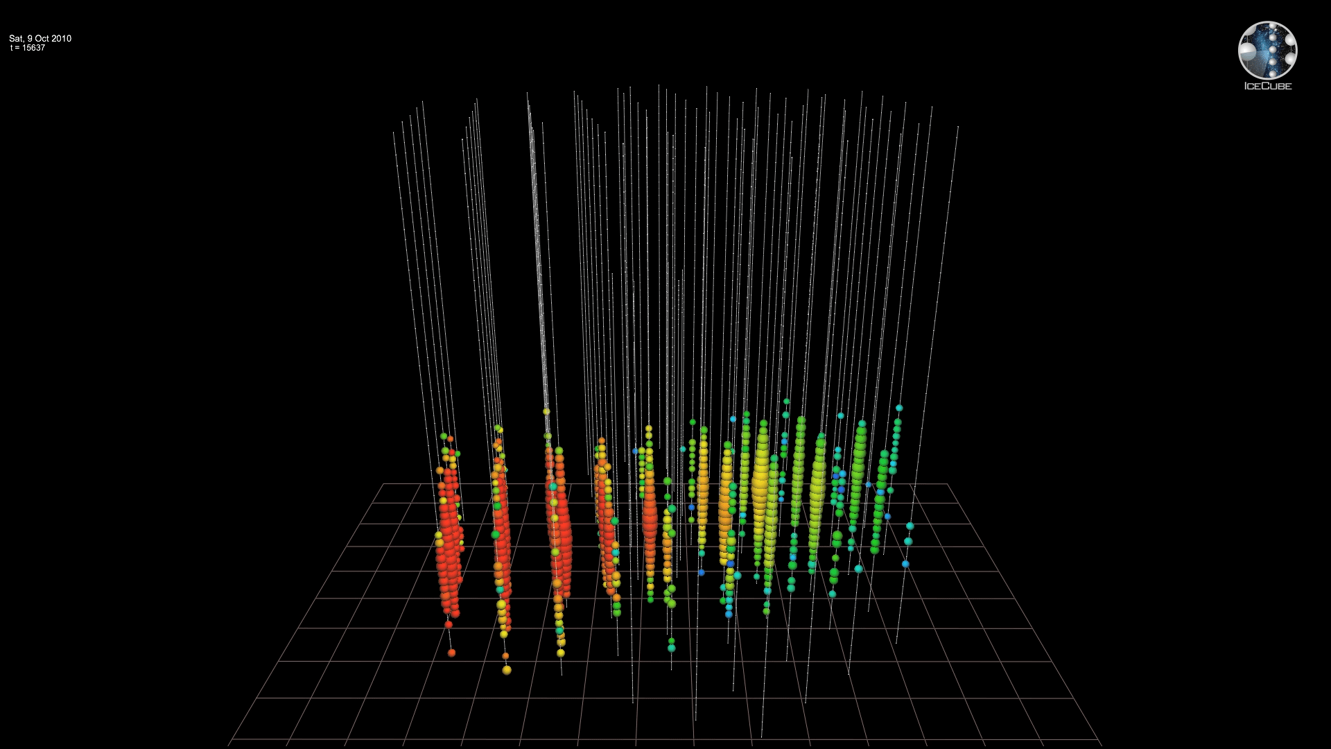 Video, IceCube Event ID 116701,6581938. Most probable neutrino energy: 466 TeV, October 9, 2010