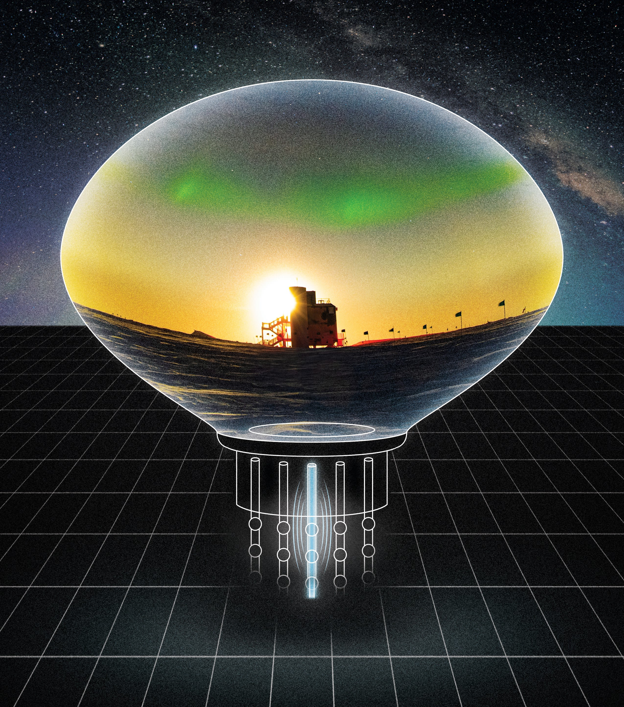 A South Pole scene of the IceCube Laboratory against a backdrop of auroras displayed inside an artistic rendition of a photomultiplier tube.