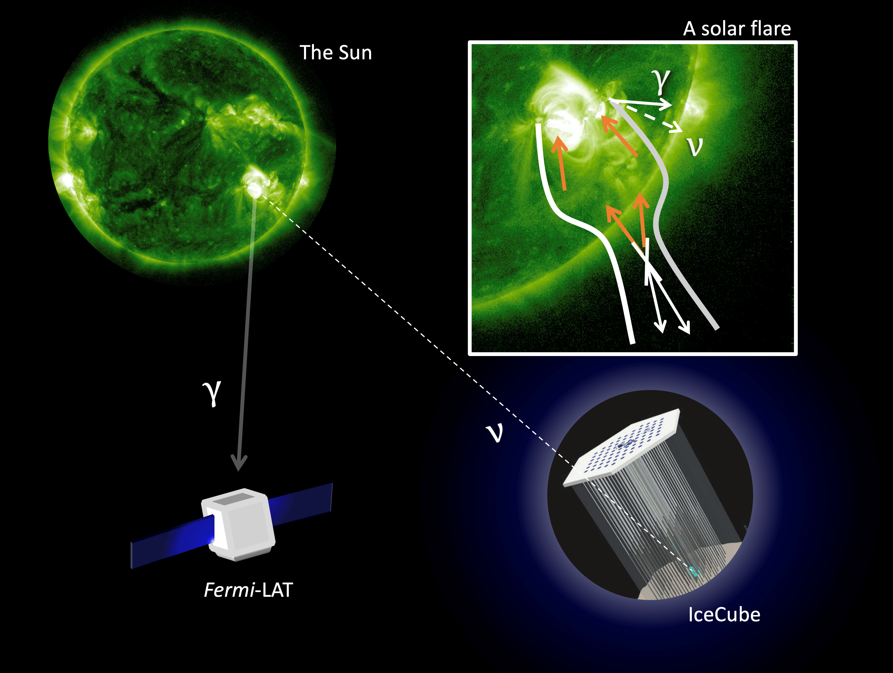 Diagram of gamma ray and neutrino production in solar flares.