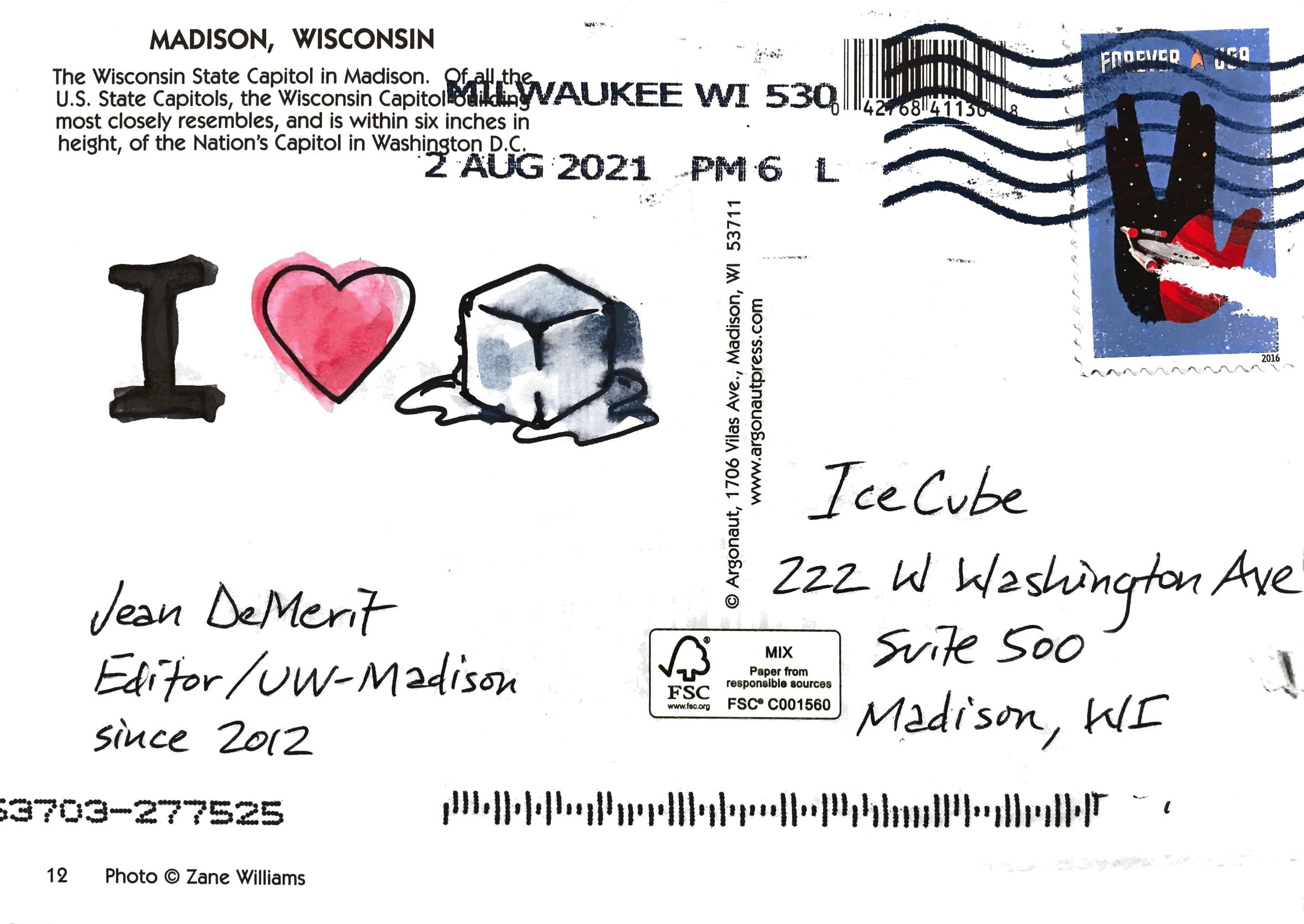 I 💗🧊 [I heart ice cube] Jean DeMerit Editor/UW–Madison Since 2012